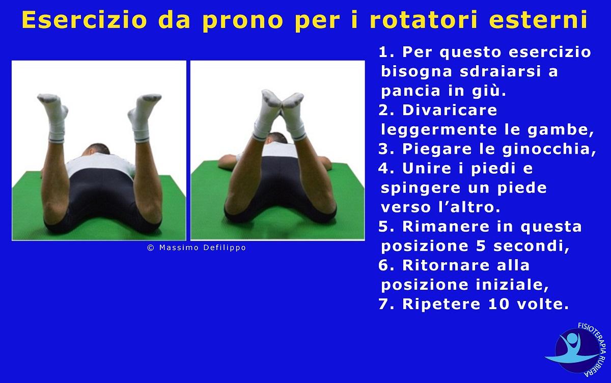 Esercizio da prono per i rotatori esterni