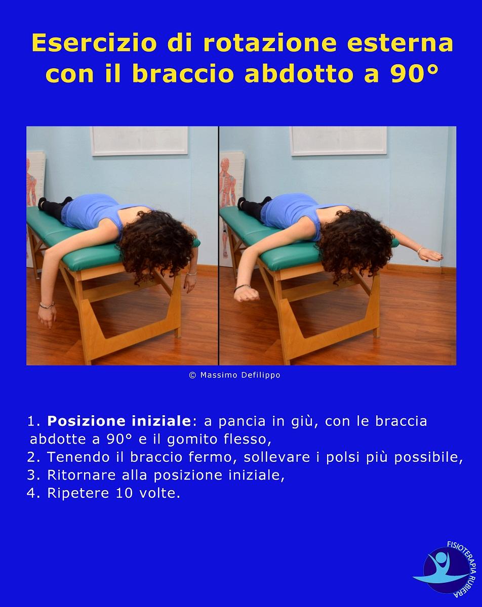Esercizio di rotazione esterna con il braccio abdotto