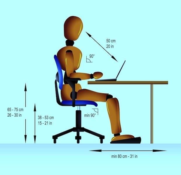 postura,corretta,computer,dolore,cervicale,collo,scrivania,distanza