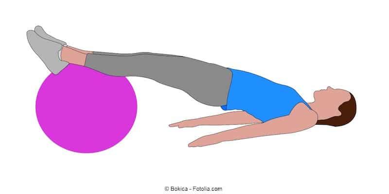 Esercizio,glutei,fitball,gymball