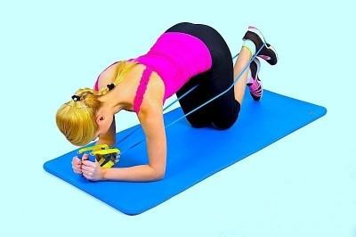 esercizio per il gluteo,quattro zampe,elastico