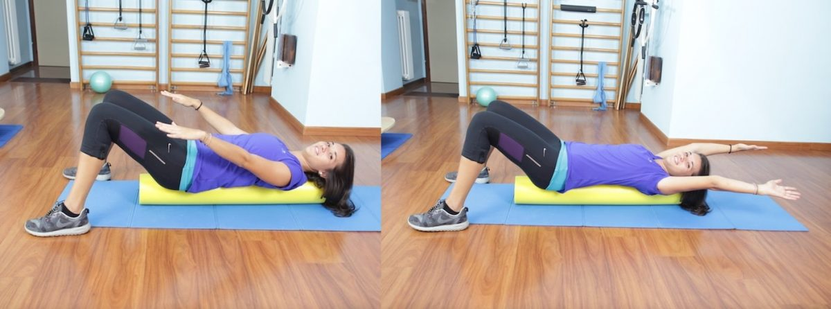 Roller foam,pilates,esercizio,braccia,spalle