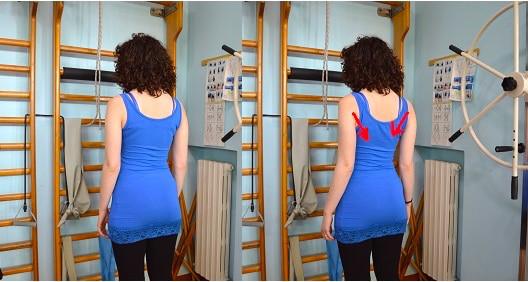 esercizio, spalla, avvicinamento scapole