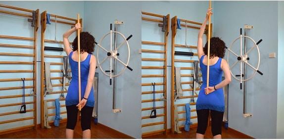 rotazione interna,spalla,passiva,bastone