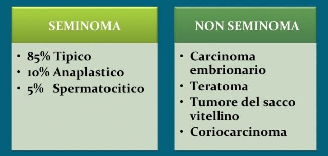 seminoma, non-seminoma, tipi, classificazione