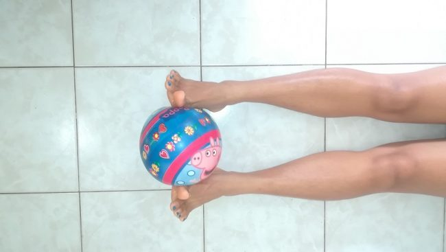 ejercicio, fortalecimiento, tobillo, balón
