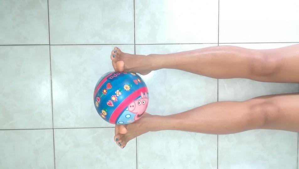 esercizio, rinforzo, caviglia, palla
