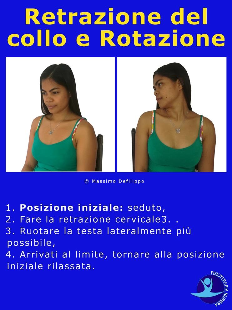 Retrazione del collo e Rotazione, esercizio mckenzie