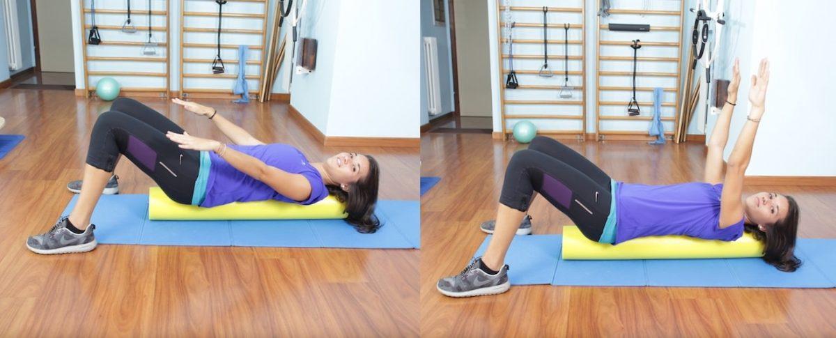Esercizio pilates,roller,foam,braccia