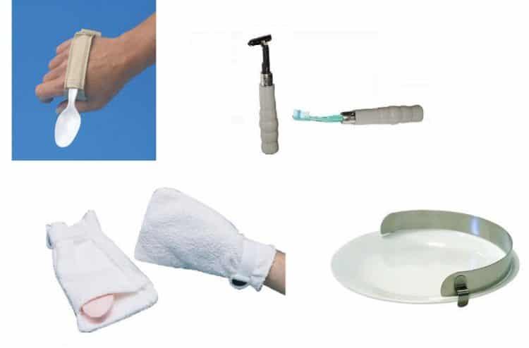 ausili,cucchiaio,spazzolino,rasoio,piatto,guanto