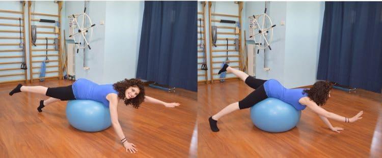 Esercizio,fitball,braccia e gambe alternate