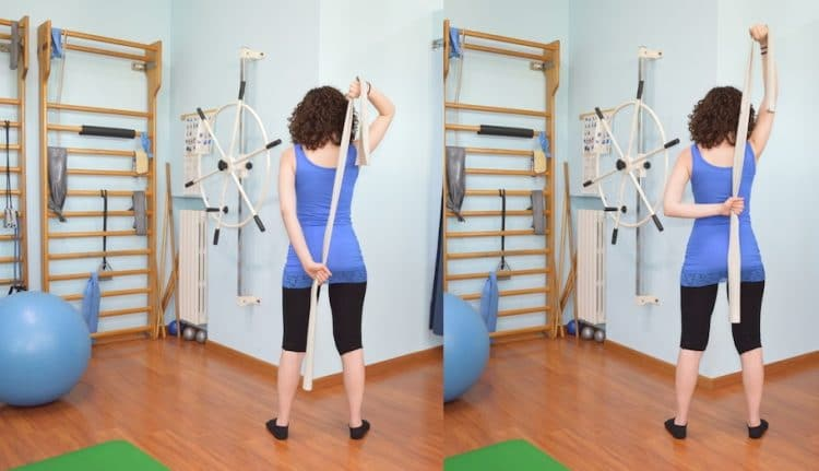 esercizio,lavare la schiena,braccia,elastico