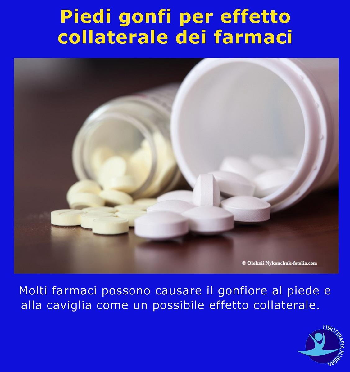 Piedi gonfi per effetto collaterale dei farmaci