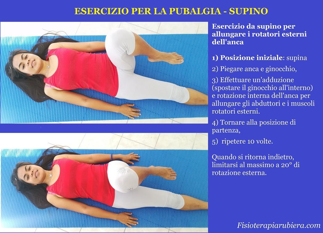 esercizio pubalgia, rotazione interna supino