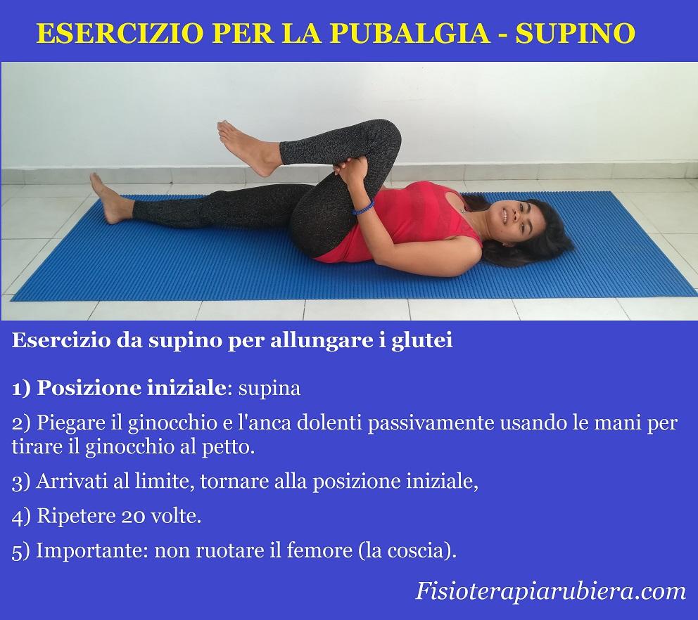 esercizio pubalgia, stretching glutei