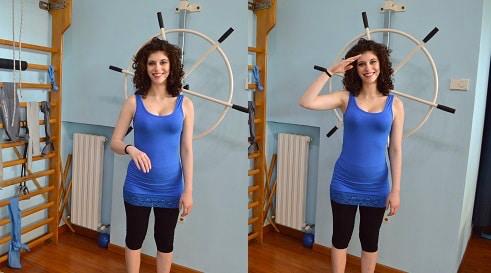 esercizio di riabilitazione post-intervento alla cuffia dei rotatori