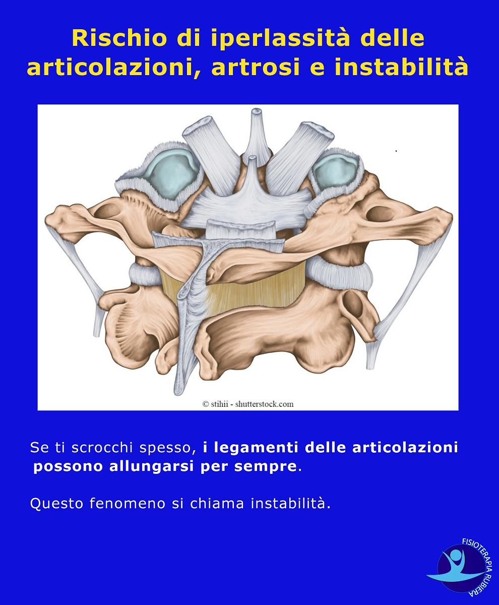 Rischio di iperlassità delle articolazioni, artrosi e instabilità